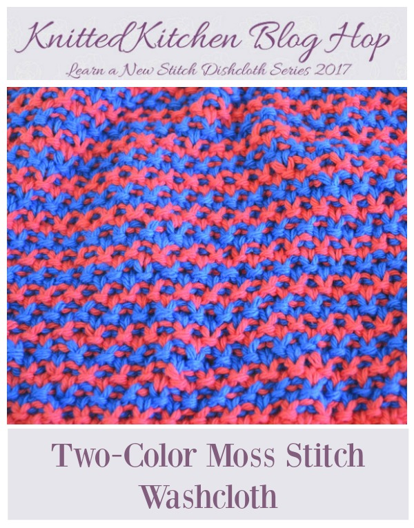 Two-Color Moss Stitch Washcloth Knitting Pattern