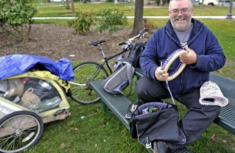 Homeless Man Knits Hats for Others