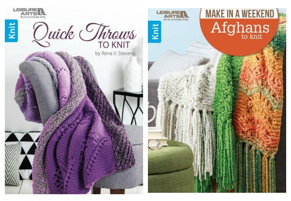 New afghan knitting books from Leisure Arts.