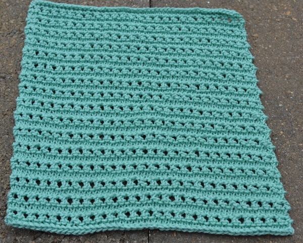 KNit the ridged ribbon eyelet dishcloth, part of the Knitted Kitchen Blog Hop