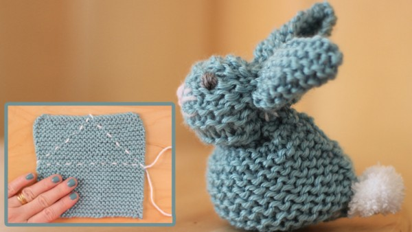 How to make a bunny from a knit square.