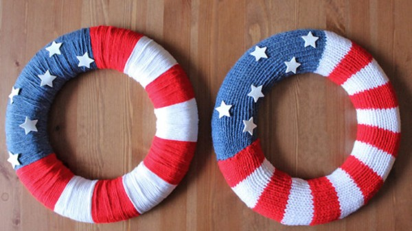 Knit a flag wreath for July Fourth.