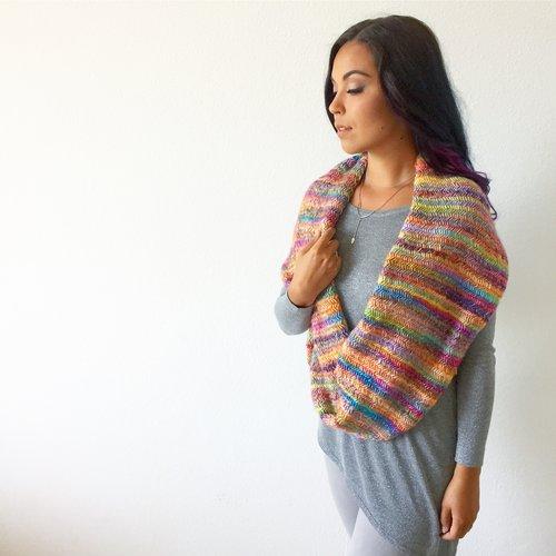 misty rainbow cowl knitting pattern