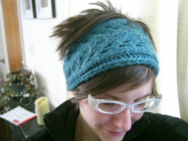 blue leaf headband easy gift knit