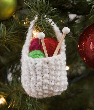 knit yarn basket ornament