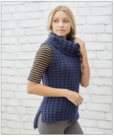 Knit a Cozy Vest in Waffle Stitch