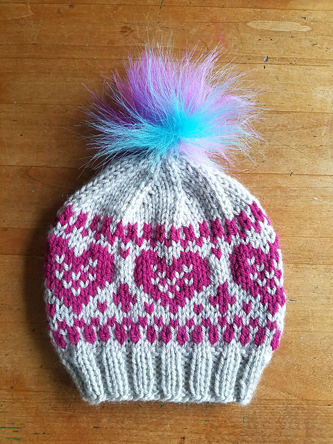 heart hat stranded knitting pattern