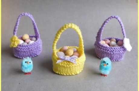Knit a Tiny Basket for Chocolate Eggs