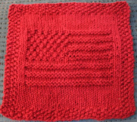 american flag knit dishcloth