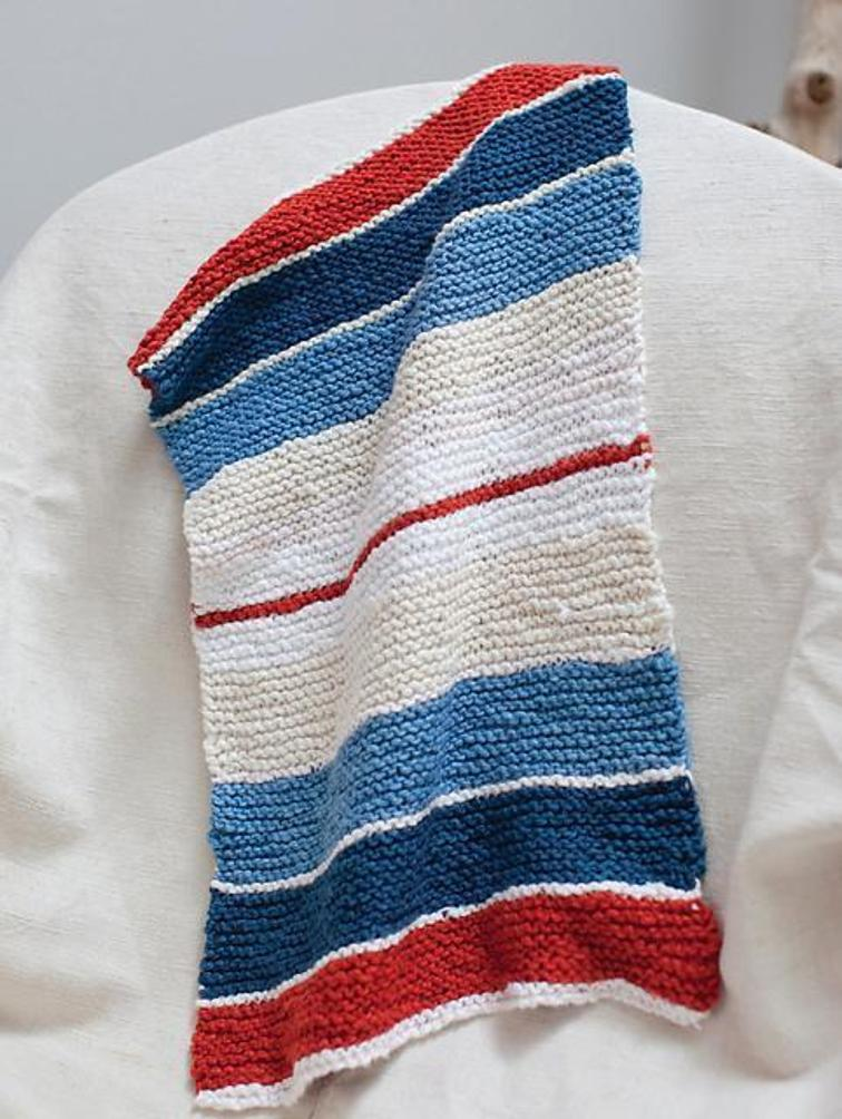 striped kitchen towel knitting pattern