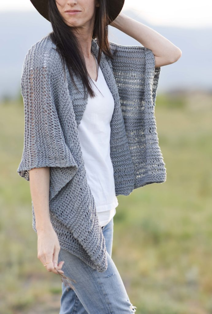 Knit a Cotton Kimono with Drop Stitch for Summer - Knitting