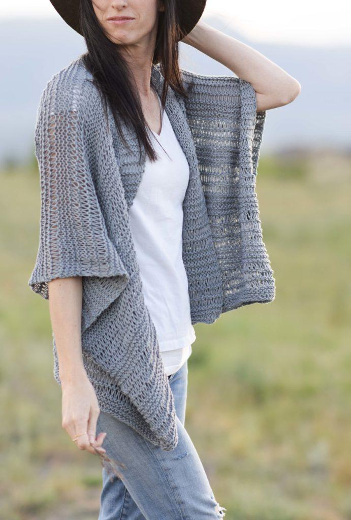 summer drop stitch knit kimono