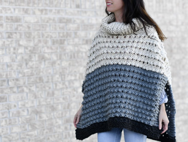 bulky poncho knitting pattern