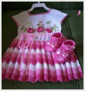 Knitted baby dress, vest, cardigan, sweater, overalls patterns (725)