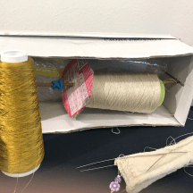 Knitting History Forum TRC Leiden Conference 2019 – An ingenious yarn holder for knitting a silk stocking, Texel seventeenth century silk stockings project, exhibition at the TRC, visited on Sunday 3rd November – image 2019 by Christine Carnie
