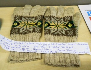 Colourwork knitted gloves made by Shetland Islander, Bessie Jamieson, shown at the Knitting History Forum Conference in November 2015