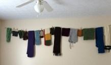 knit scarf storage display solution