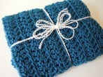 Cerulean Blue Crochet Travel Blanket