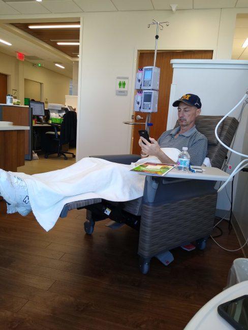 Tom at chemo
