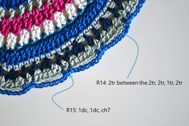 Manadala placemat free crochet pattern step 14 and 15