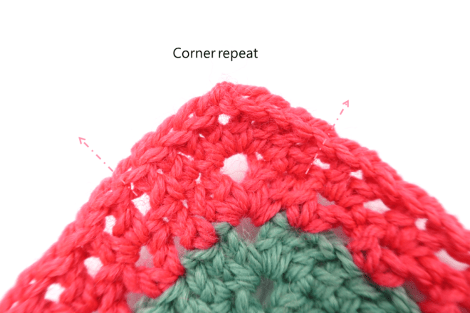 Corner repeat for the pink section of the long cardigan crochet pattern