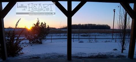 Snowy backyard sunset.