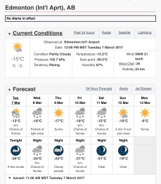 March 7/17 weather forecast Cº