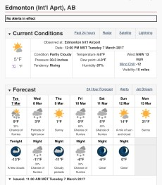 March 7/17 weather forecast Fº