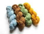 DK merino blue gold green brown