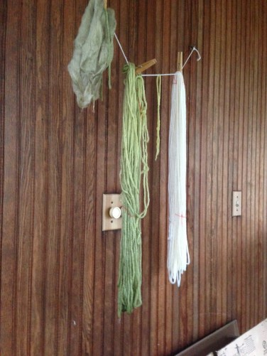 Hanging to dry - undyed skein on the right