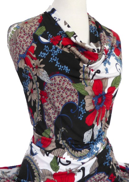 Knitwit Printed Jersey Knit Flora Red Blue Taupe