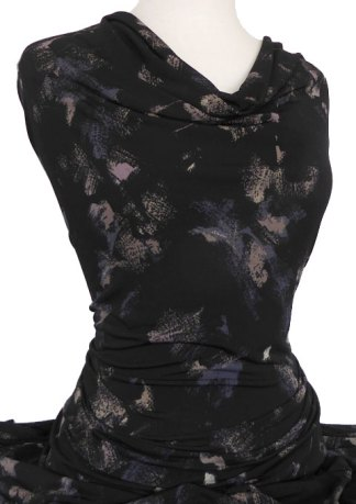 Knitwit Printed Jersey Knit Geneva Black Taupe