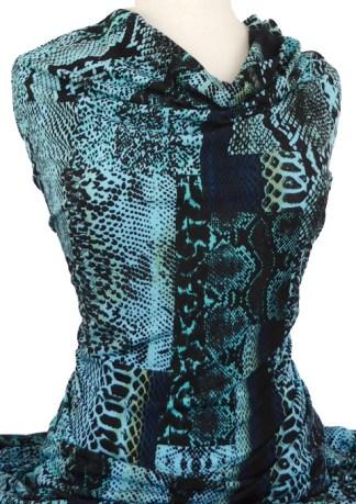Printed Jersey Knit Snakeskin Aqua Black