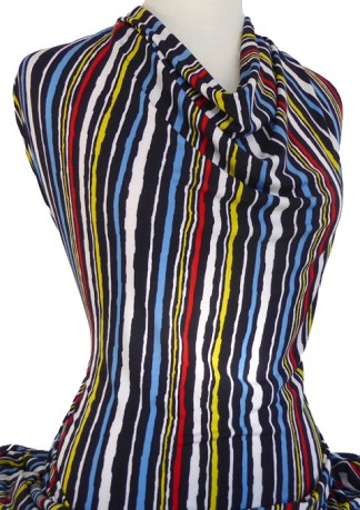 Knitwit Printed Jersey Knit Brooklyn Multicolour Stripe