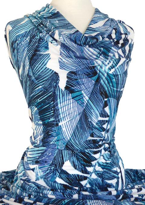 Knitwit Printed Jersey Knit Jamaica Blue