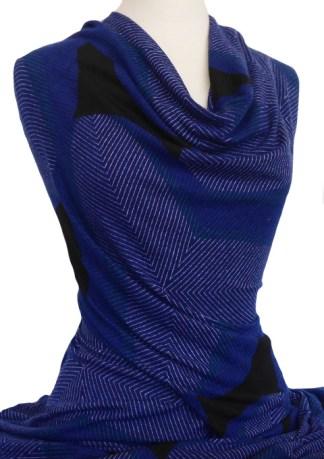 Knitwit Winter Jersey Knit Fabric Domain Blue Black