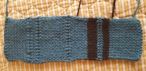Knitted gauge swatch before blocking