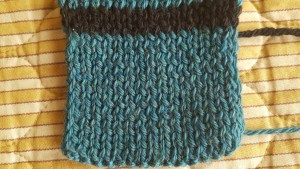 Knitted gauge swatch
