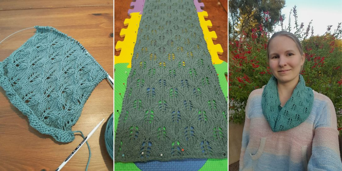 three panel image of lace cowl before, during and after blocking