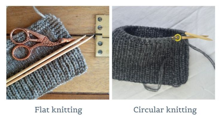 two panel image showing flat and circular knitting