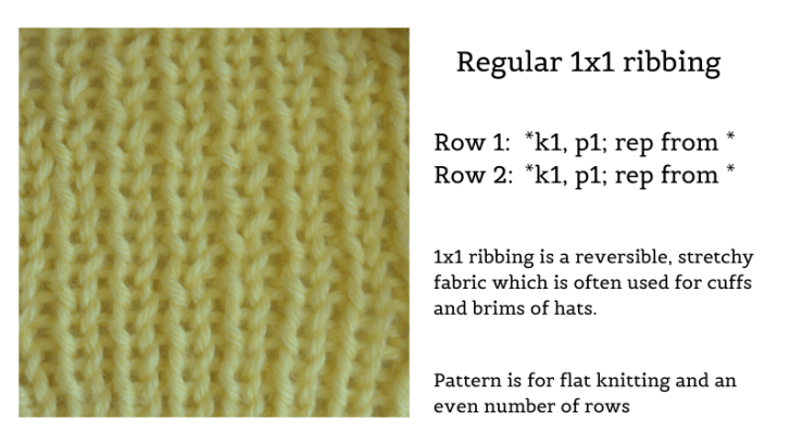 knitting sample of 1 by 1 ribbing