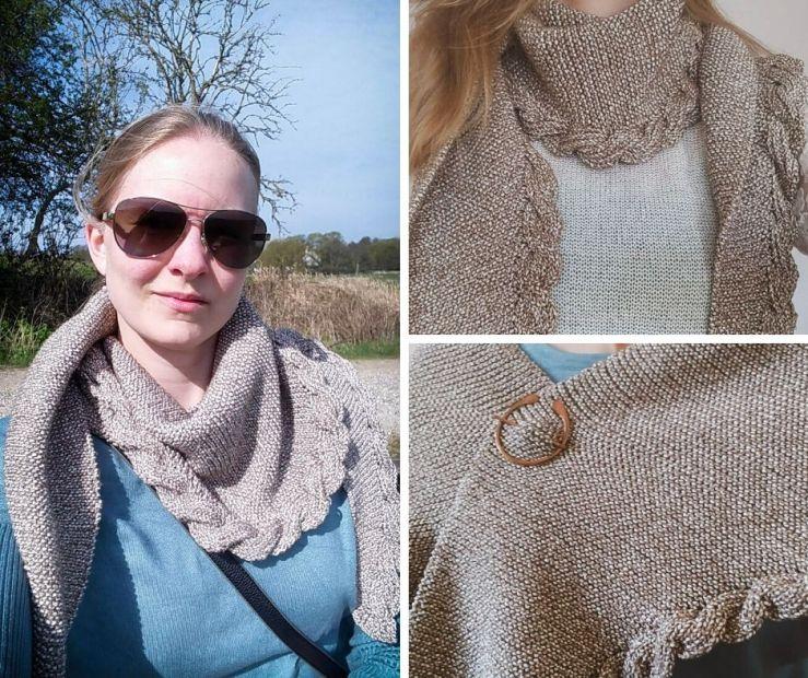 three photos of my newly finished shawl