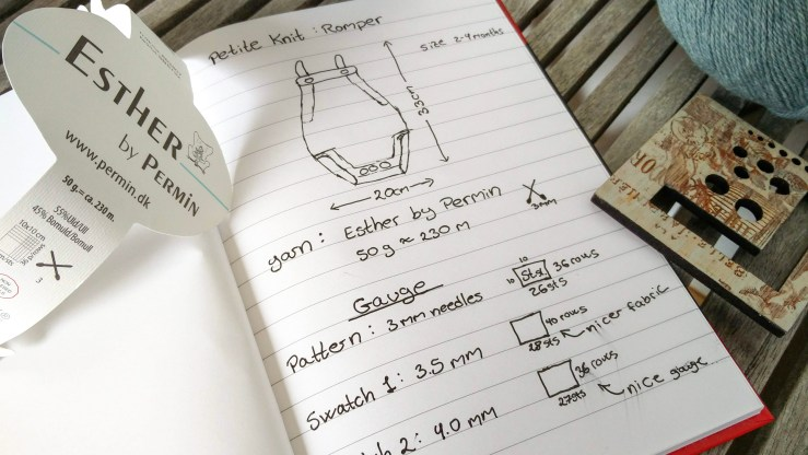 photo of notebook with plans for a knitting project