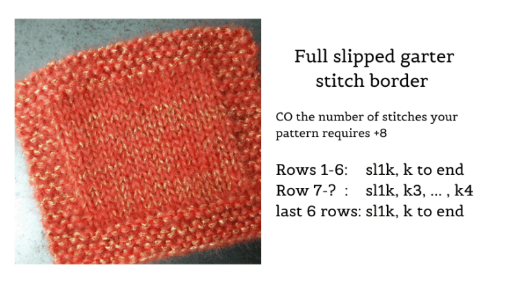 Full garter stitch border on a stockinette stitch swatch