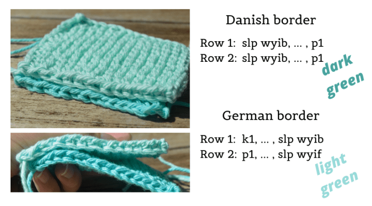Knitted swatches with Danish and German edges