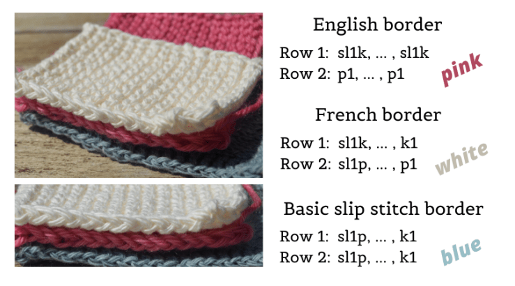 Knitted swatches with English, French and basic slip stitch edges