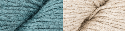 Rowan Creative Linen yarn in the colors teal and natural