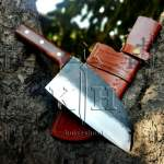 high carbon steel rose wood handle chef cleaver