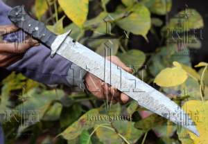 """17"""" Beautiful Damascus Steel Bowie Knife With Micarta Handle"""