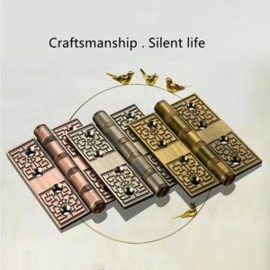 Yellow bronze hinge Chinese style thickening bearing hinge Chinese mute door folding hinge door page 1 piece